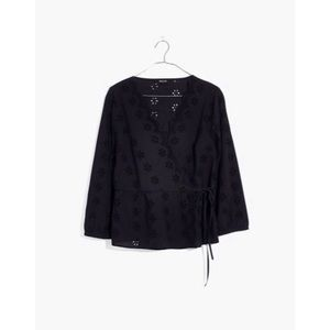 Madewell Scalloped Eyelet Wrap Black Top